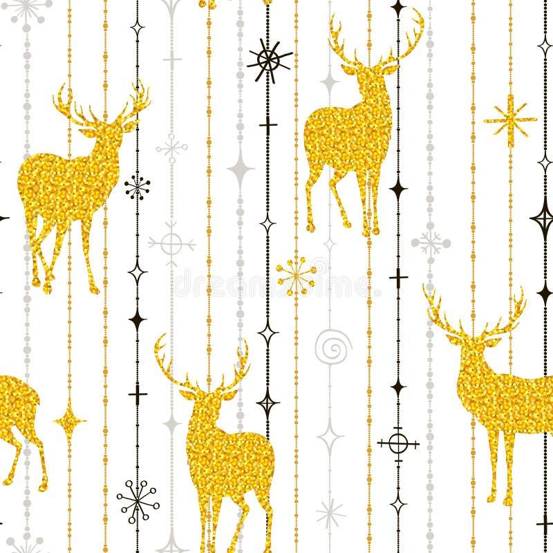 Nahtloses Weihnachtsmuster von Goldrotwild und -schneeflocken stock abbildung