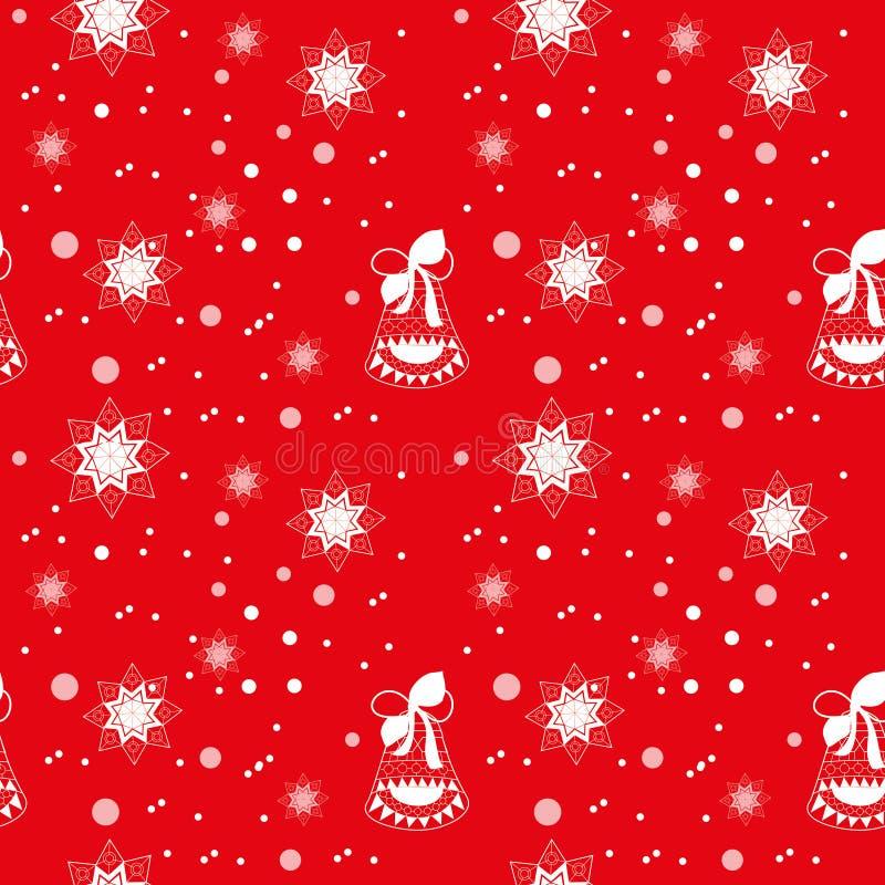 Nahtloses Weihnachtsroter Hintergrund mit festlicher Glocke stock abbildung
