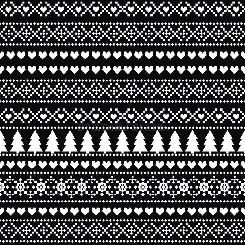 Nahtloses Weihnachtsschwarzweiss-muster - skandinavische Strickjackenart lizenzfreie abbildung