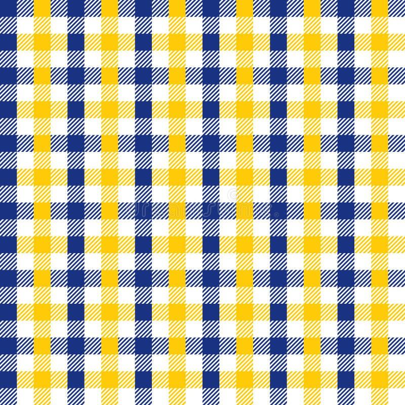 Nahtloses Weinlese-Marine-Blau und gelbe karierte Gewebe-Muster-Hintergrund-Beschaffenheit vektor abbildung
