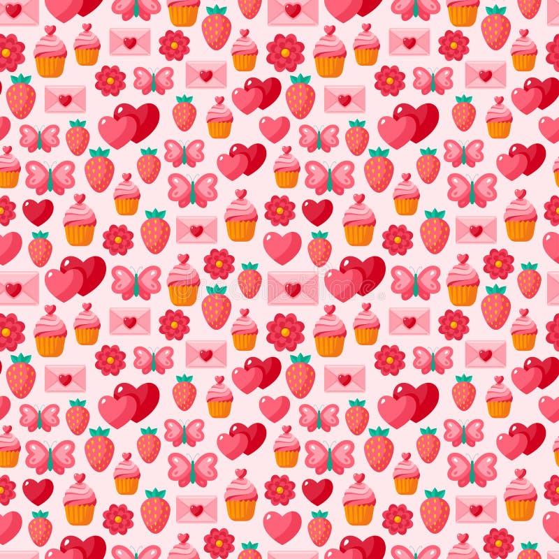 Nahtloses Weinlesemuster des netten Valentinsgrußes stock abbildung