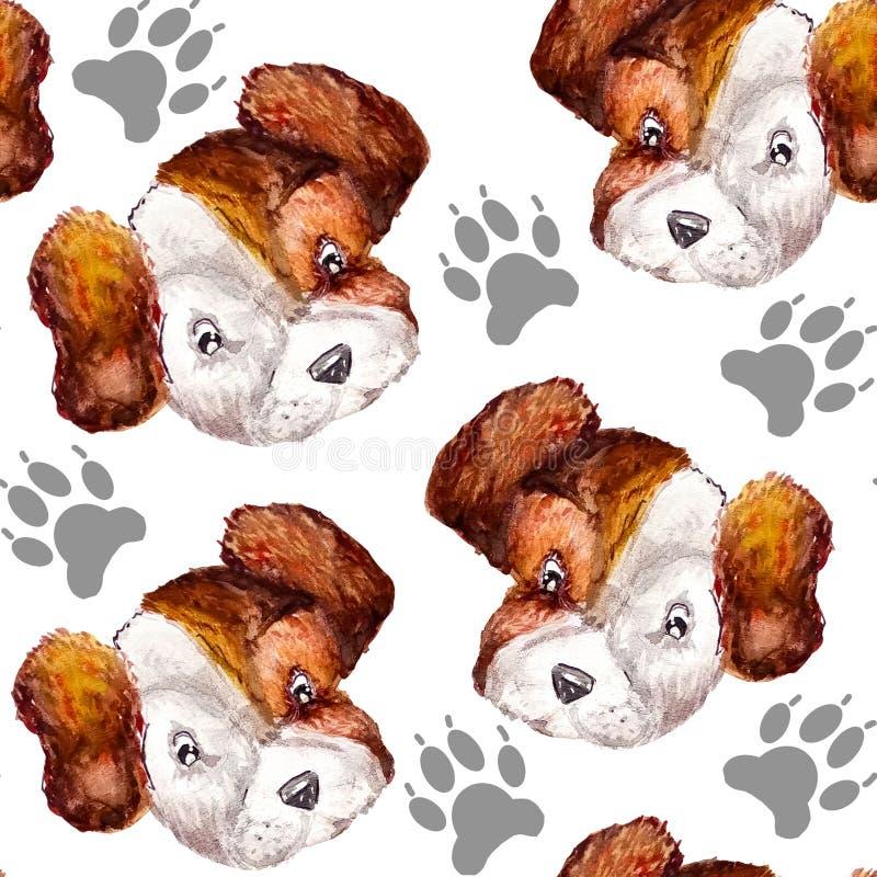 Nahtloses wiederholendes Muster des Aquarells von grauen Pfotenabdrücken von Hunden und von Porträts von Weiß mit braunen Köpfen  vektor abbildung