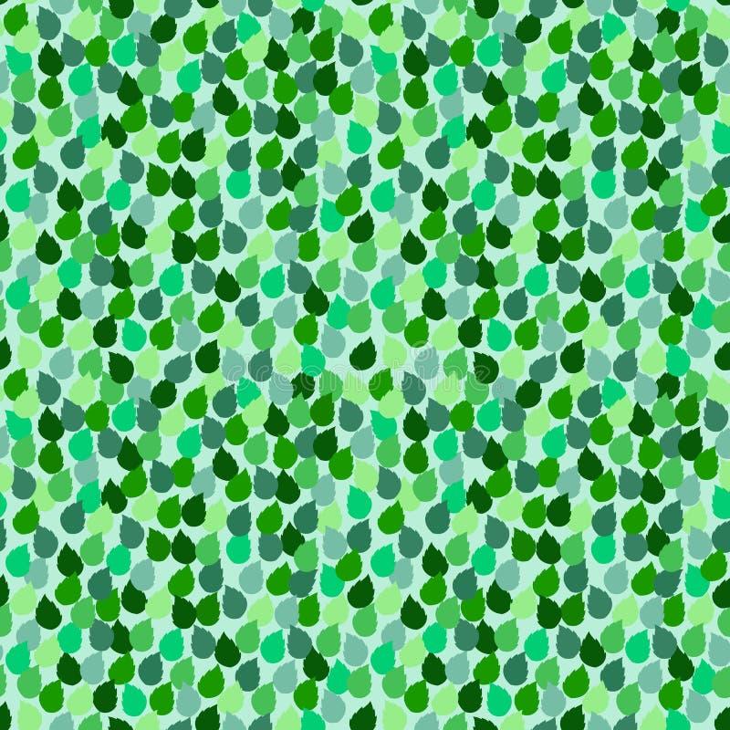 Nahtloses wiederholendes Muster mit grünem Blattzusammenfassungshintergrund stock abbildung