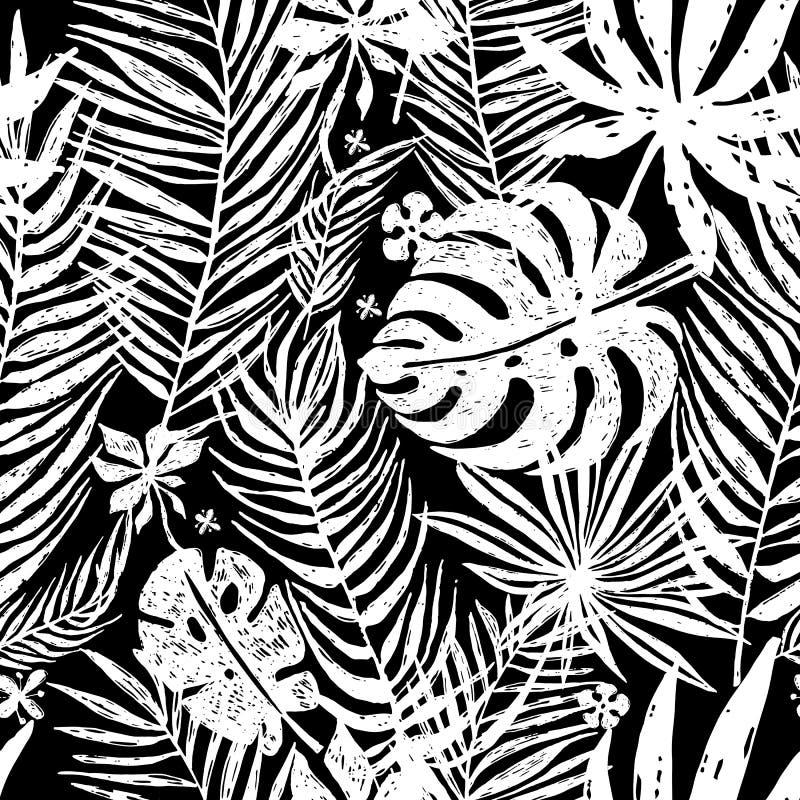 Nahtloses wiederholendes Muster mit weißen Schattenbildern der Palme verlässt im schwarzen Hintergrund Botanische Illustration de stock abbildung