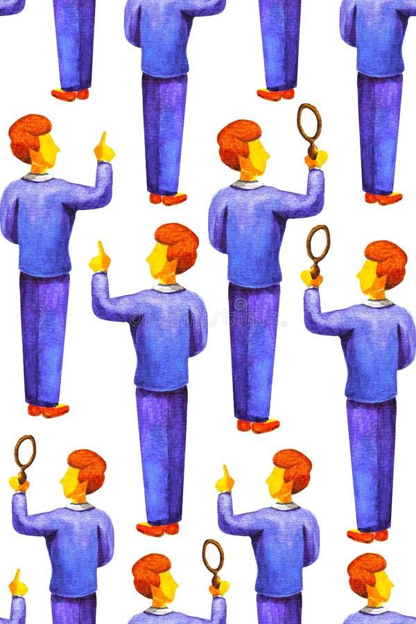 Nahtloses wiederholendes Muster von jungen Geschäftsleuten oder Wissenschaftlern in der blauen Klage, die Hand hält oder zeigt Lu lizenzfreie abbildung