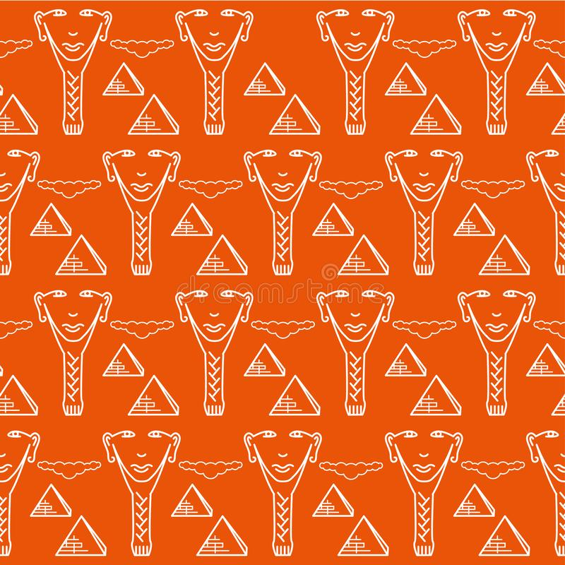 Nahtloses wiederholendes Muster, Zeichen des Gesichtes eines ägyptischen Mannes vektor abbildung