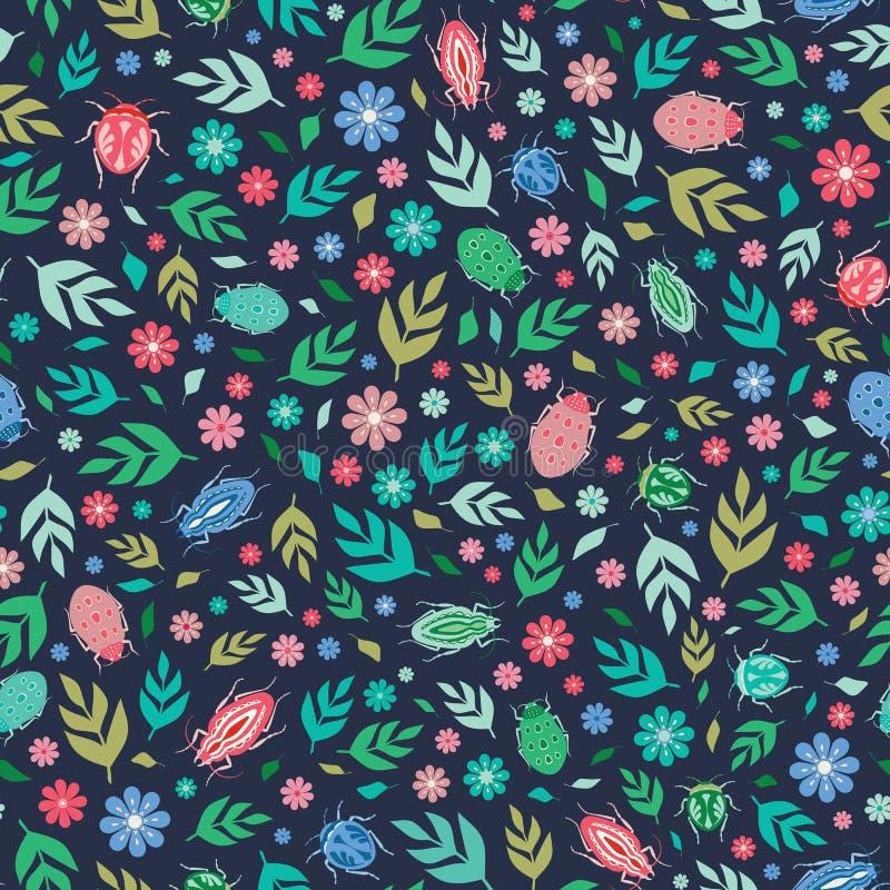 Nahtloses Wiederholungsmuster von bunten Käfern, von Blättern und von Blumen auf einem dunklen Hintergrund Ein Vektoroberflächene stock abbildung