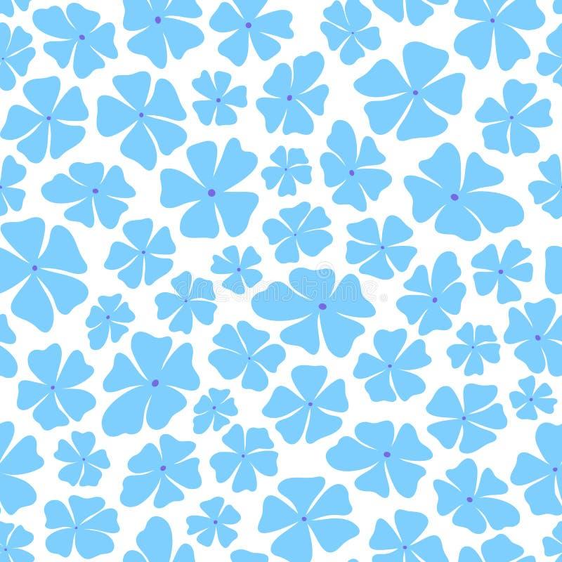 Nahtloses Wiederholungsmuster von stilisierten blauen Blumen auf weiße Hintergründe Ein hübsches geworfenes Vektormusterideal für lizenzfreie abbildung