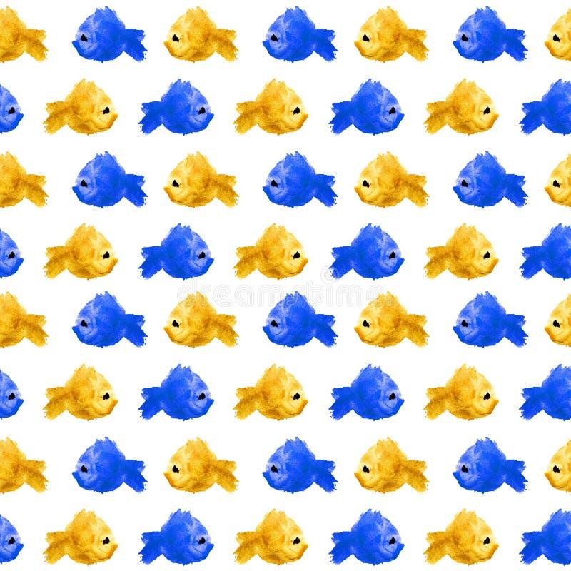 Nahtloses Wiederholungsschachbrettmuster von bunten Aquarellschattenbildfischen als Flecken, Flecken, Tupfen auf weißem Hintergru stock abbildung