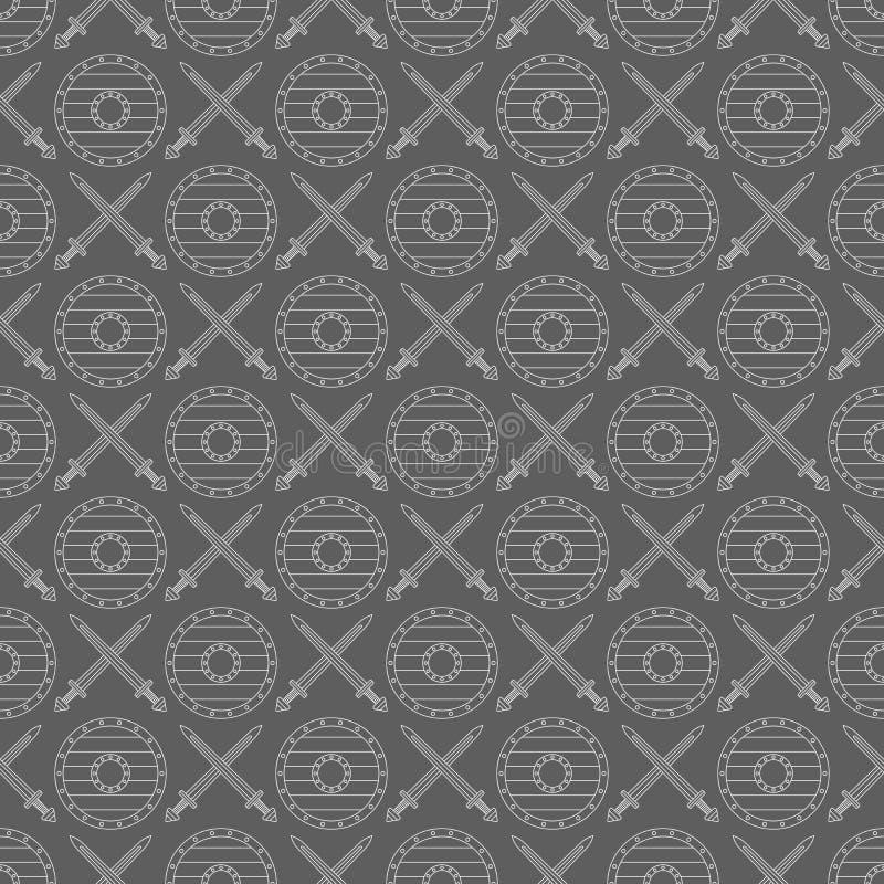 Nahtloses Wikinger-Muster 04 lizenzfreie abbildung
