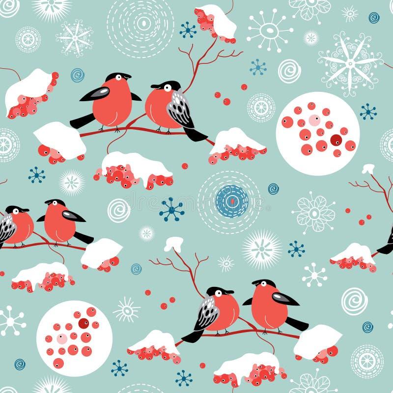 Nahtloses Wintermuster von Bullfinches und von Eberesche lizenzfreie abbildung