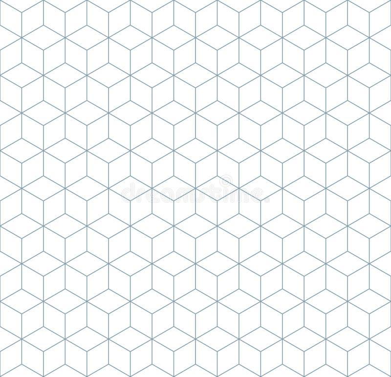 Nahtloses wireframe abstrakte geometrische isometrische Muster-Hintergrundkubikbeschaffenheit lizenzfreie abbildung