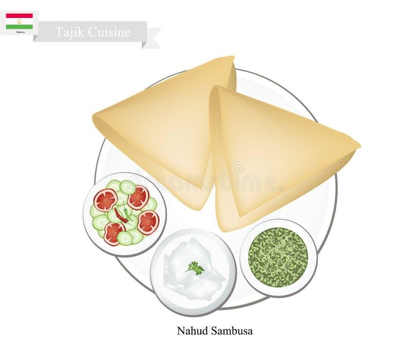 Nahud Sambusa ou Tajique Fried Dumpling Filled com grão-de-bico ilustração do vetor