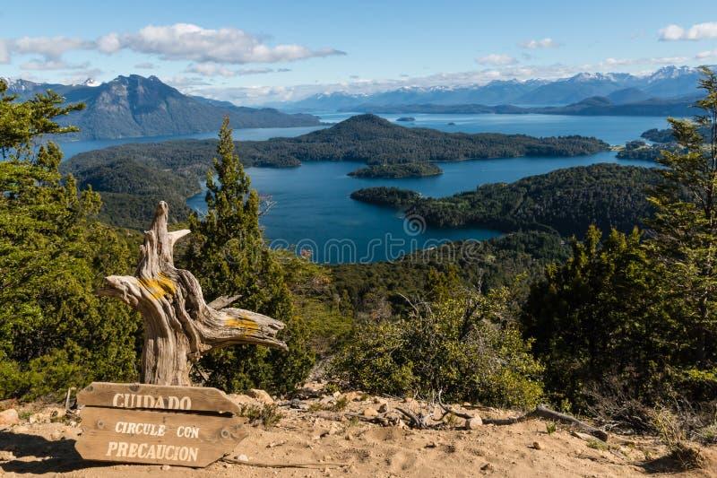 Nahuel Huapi湖鸟瞰图  免版税库存照片