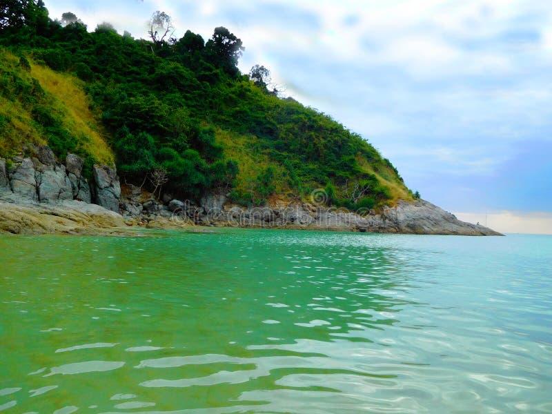 Nai杨海滩在印度洋的海湾的泰国,阿门 免版税库存图片