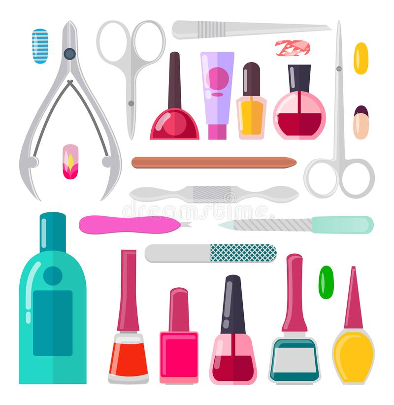 Nail Art Collection Of Objects Vector Illustration Stock Vector ...