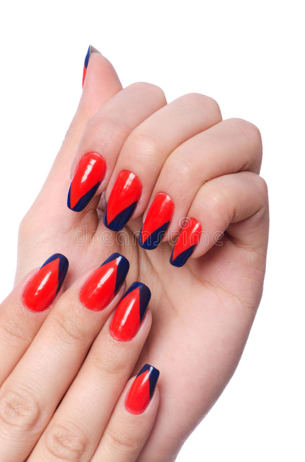 Nail art concept with hands stock image