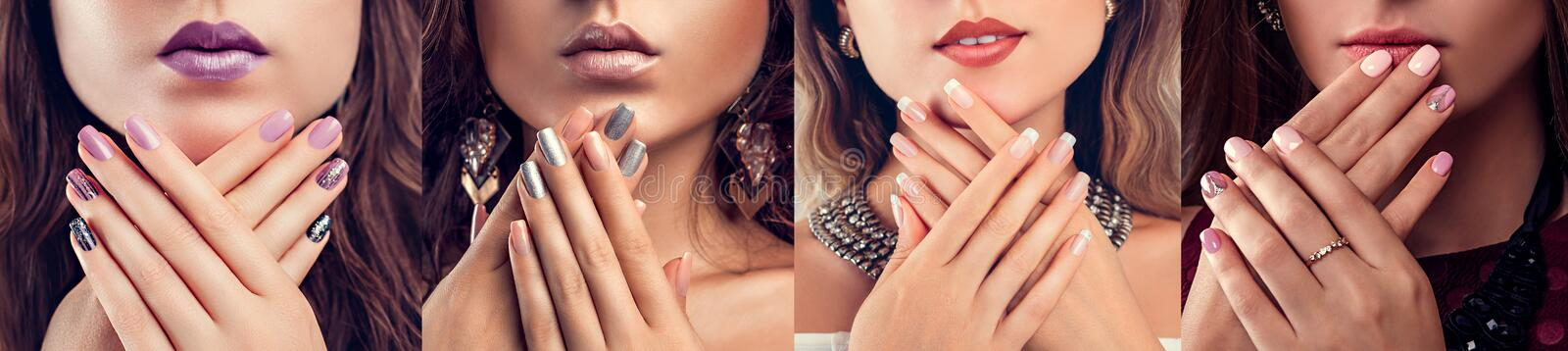 Nail art and design. Beauty fashion model with different make-up and manicure wearing jewelry. Set of looks. Nail art and design. Beauty fashion model with royalty free stock photos