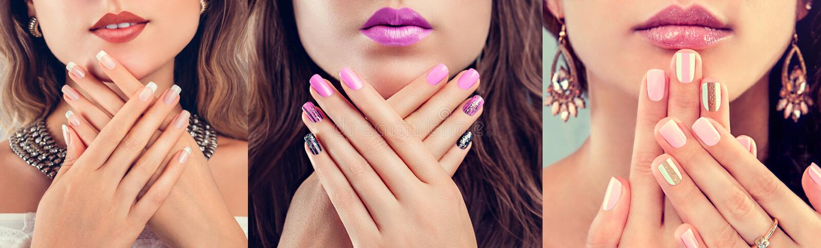 Nail art and design. Beauty fashion model with different make-up and manicure wearing jewelry. Set of nude looks stock image