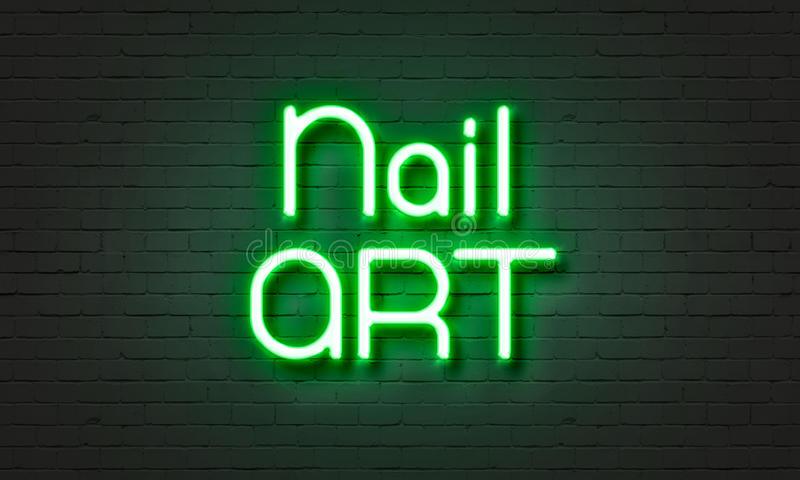 Nail Art Neon Sign On Brick Wall Background. Stock Illustration ...