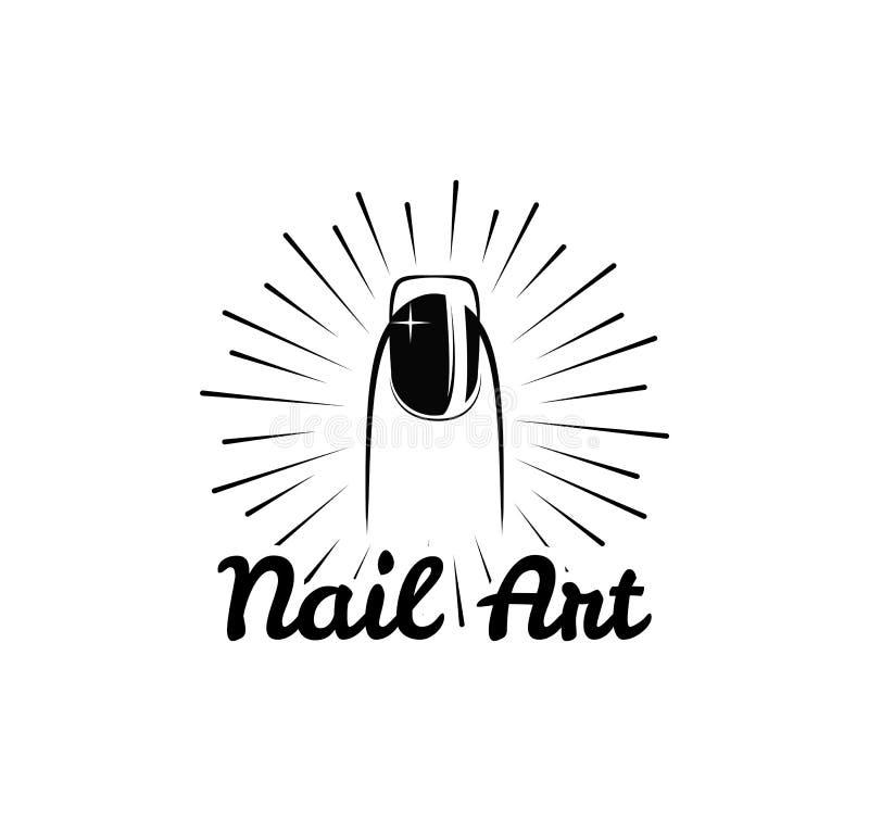 Nail art. polish salon badge. Female finger. Vector illustration on white royalty free illustration