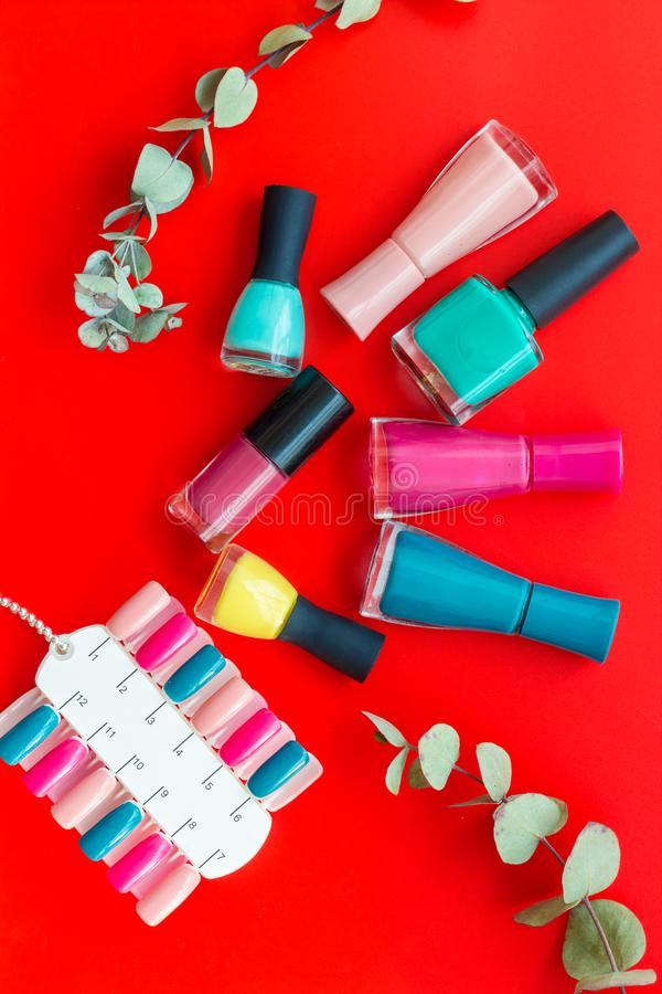 Decorative cosmetics set with flower, nail polish and palette for manicure on red background top view stock photography