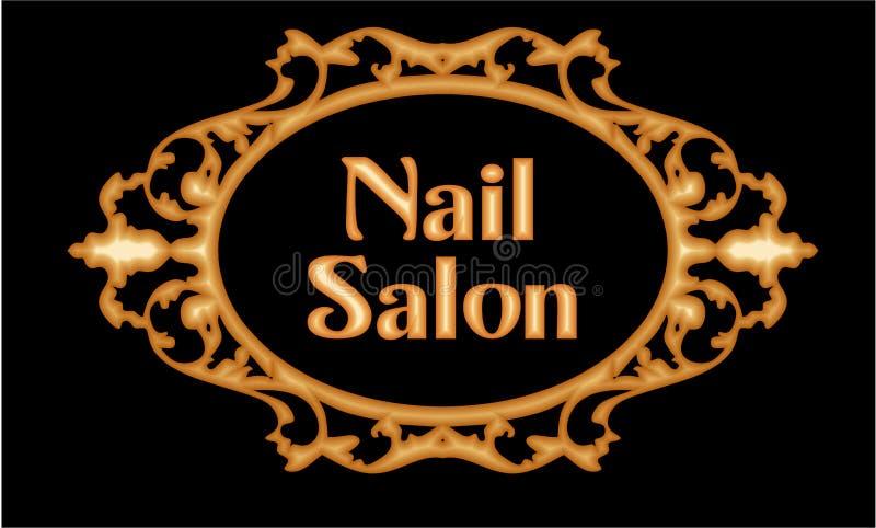 Nail & Beauty salon modern Logo. Beauty salon elegant modern logo in Baroque Gold Frame royalty free illustration