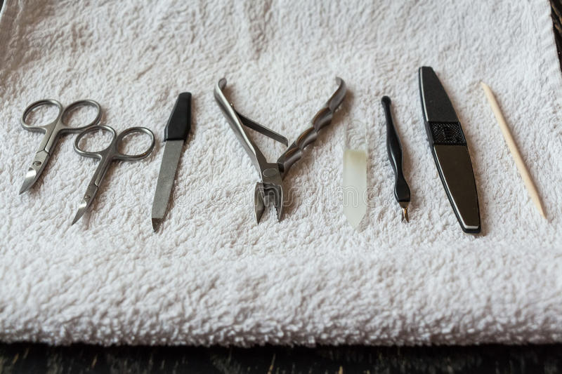 Nail care tools. Close-up of professional nail care tools for manicure stock photos