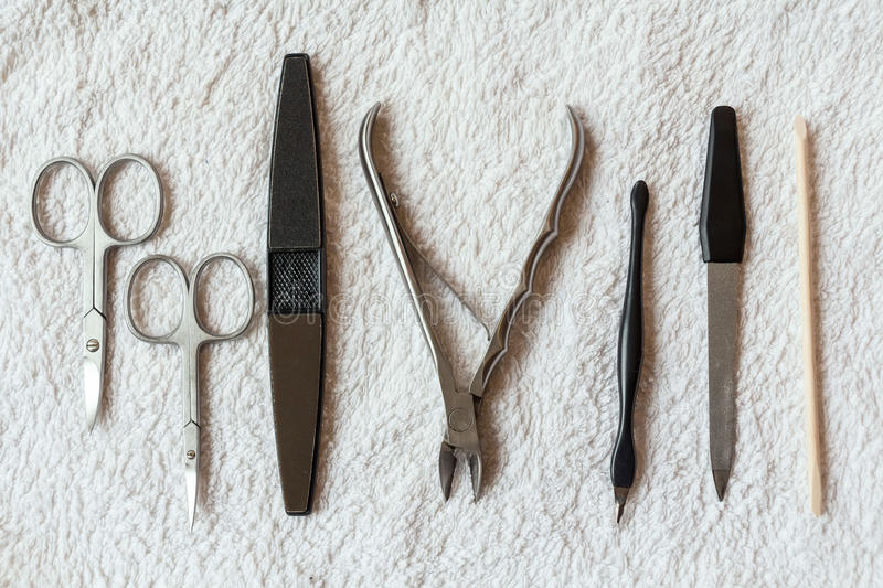 Nail care tools. Close-up of professional nail care tools for manicure stock photo