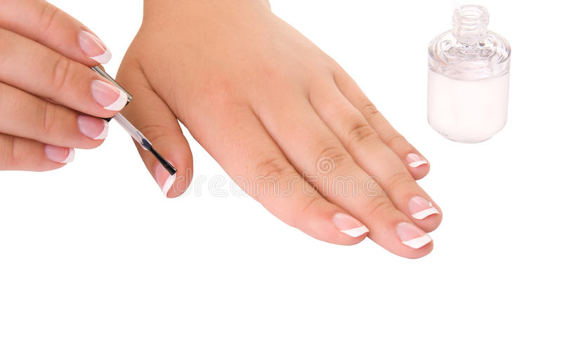 Nail care for women's hands stock photos