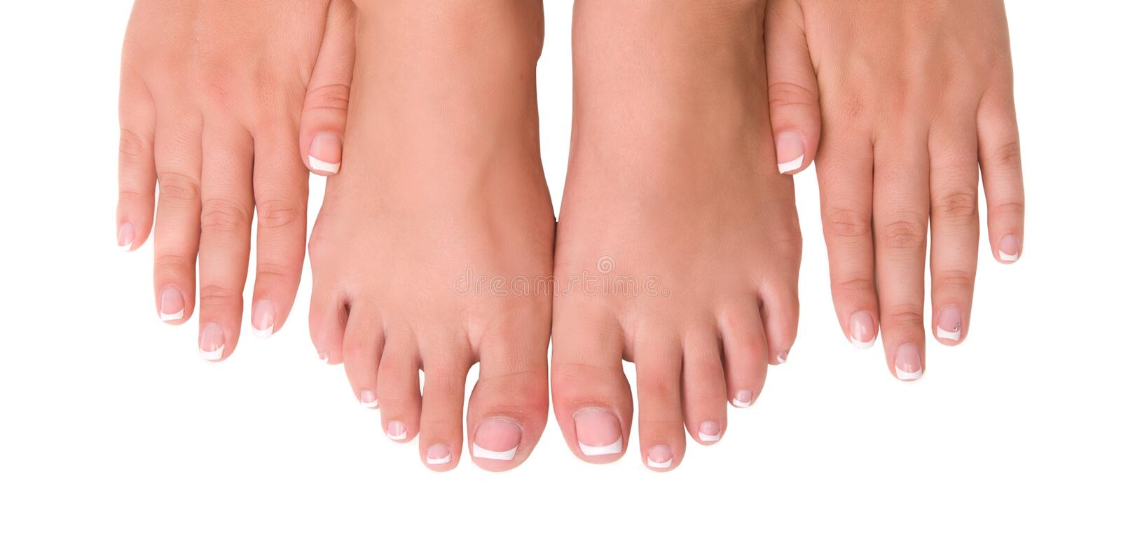 Nail care for women's hands and feet royalty free stock image