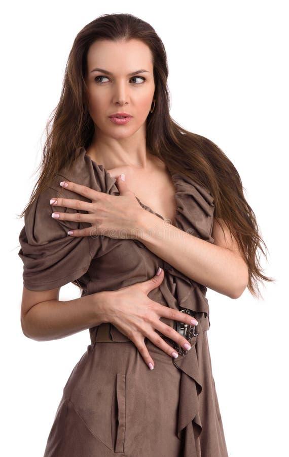 Nail extension concept. Beautiful woman portrait stock photo