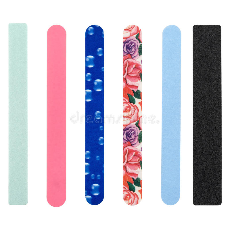 Nail file, of different colors royalty free stock photos