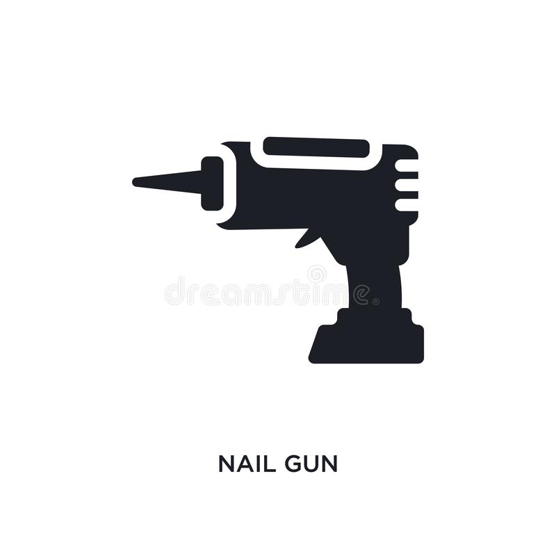 nail gun isolated icon. simple element illustration from construction concept icons. nail gun editable logo sign symbol design on stock illustration