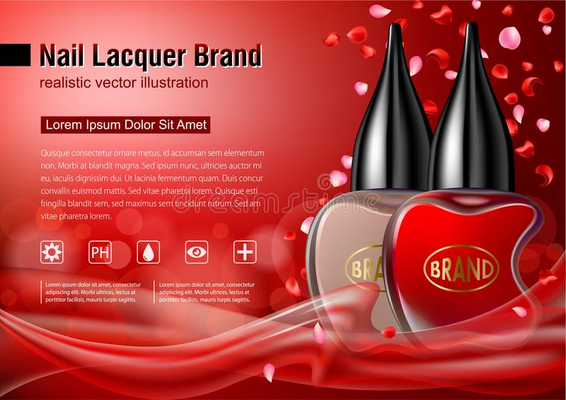 Nail lacquer advertising mock up. stock illustration