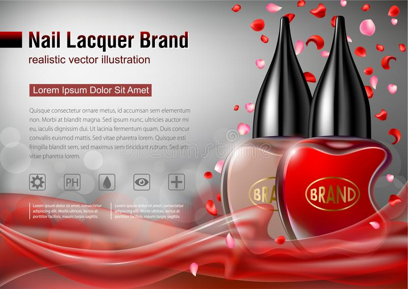 Nail lacquer advertising mock up. vector illustration