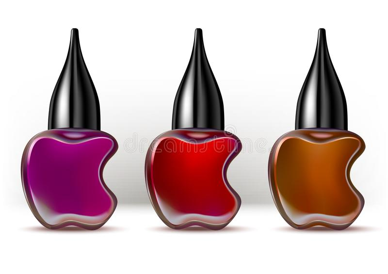 Nail lacquer container colorful collection. royalty free illustration