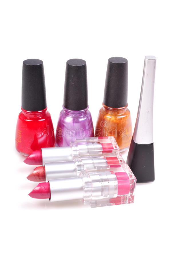 Nail paints and lipsticks stock images