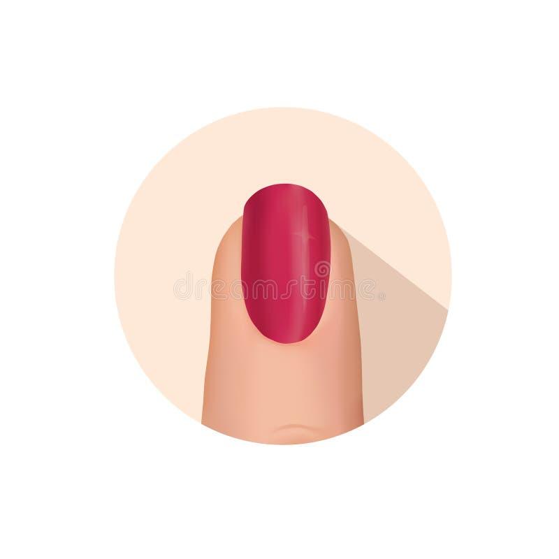 Nail polerade fingertecknet Spika symbolen för skönhetsalongen Manikyr spikar vektor illustrationer