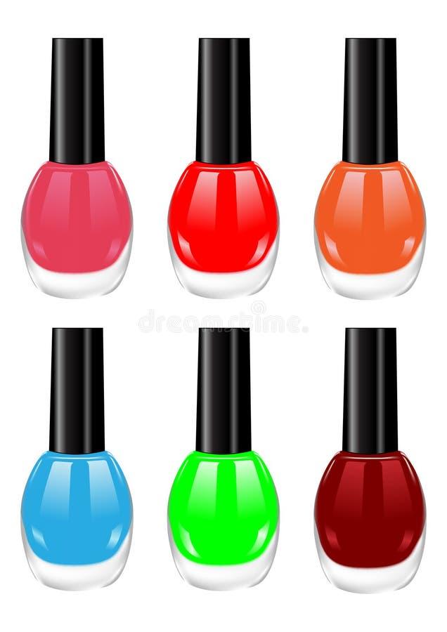 Nail polish. The image of nail polish of various colors vector illustration