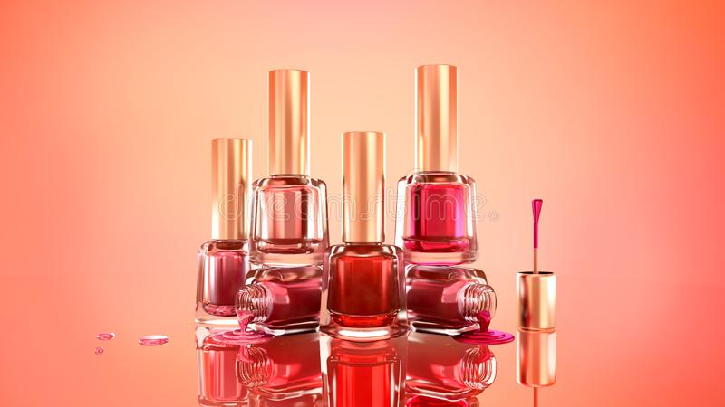Nail polish. Beautiful, fashionable glamor background illustration. 3d. Pink, red, scarlet stock images
