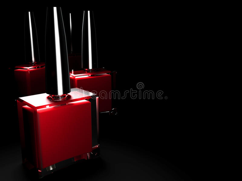 Nail Polish. On a black background with subdued lighting royalty free illustration