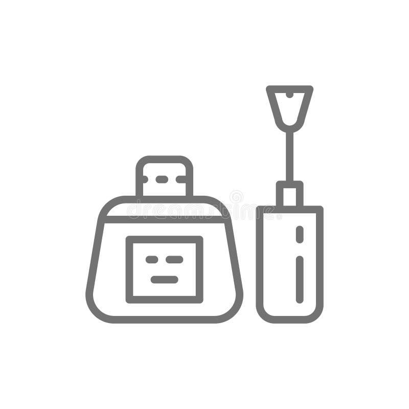 Nail polish bottle with brush, manicure base, nails gel line icon. stock illustration