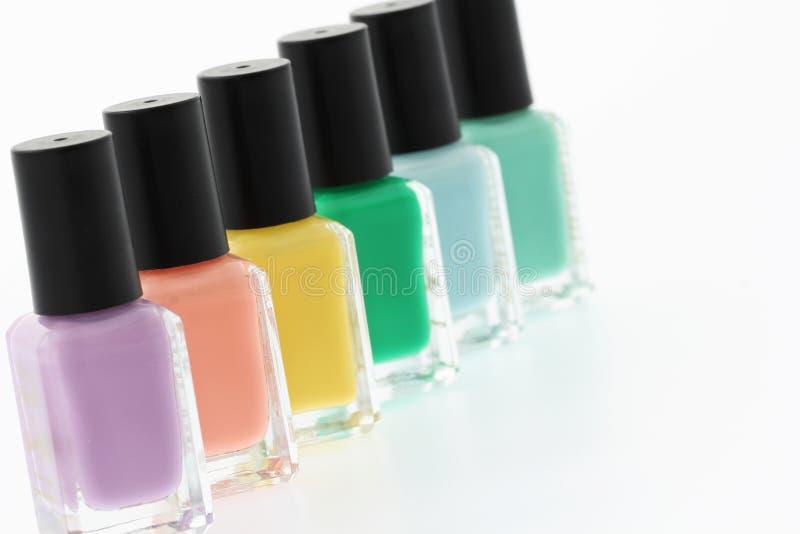 Nail polish bottles stock images