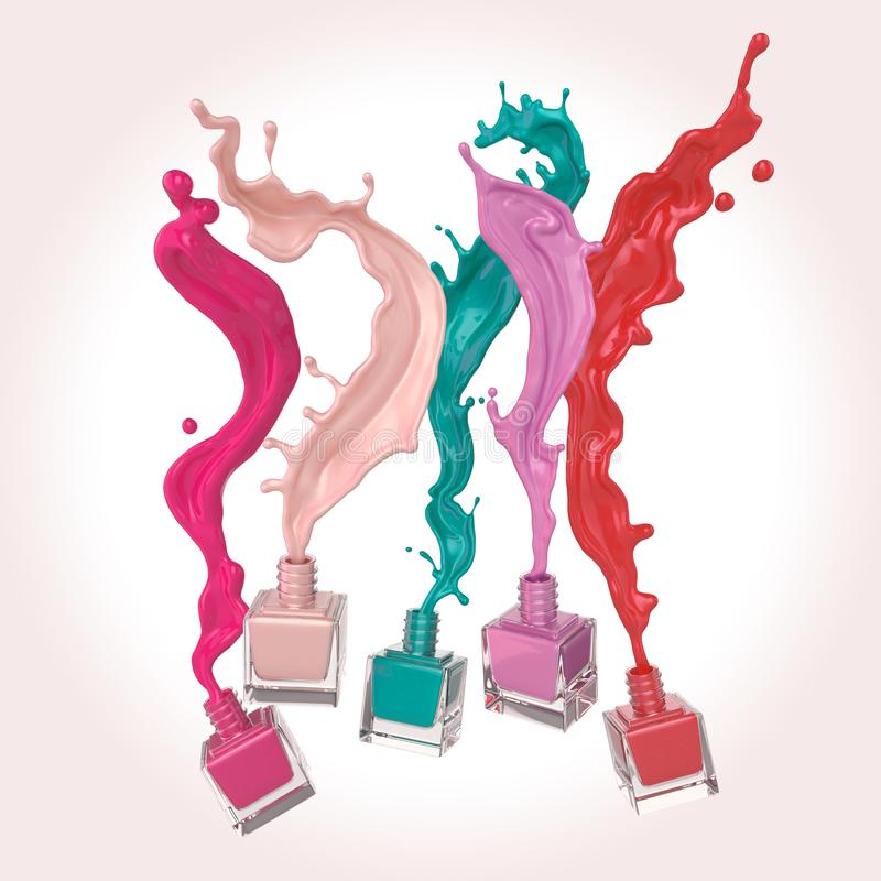 Nail polish or Colorful lacquer paint Splash. royalty free illustration