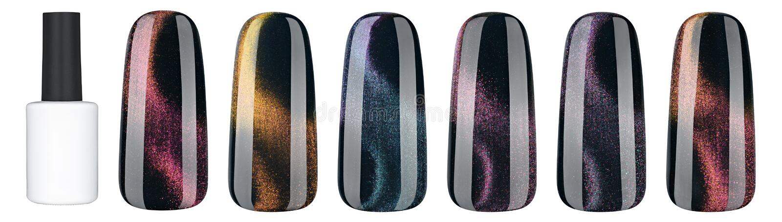 Nail polish in different fashion color. Colorful cats eye 3D nail lacquer in tips isolated white background stock image