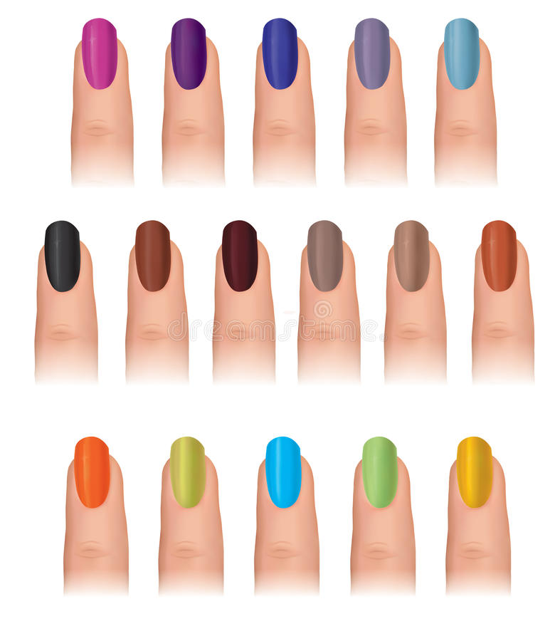 Fingernail Coloured Set. Funky Nail Polish Collect Stock ...