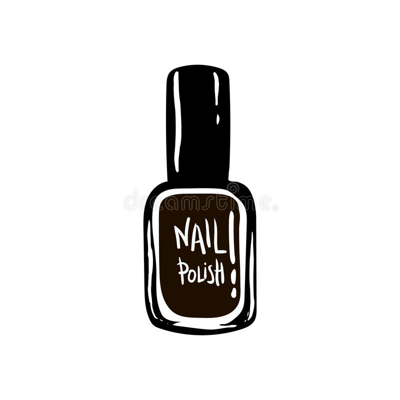 Nail polish icon. Women`s things element. hand drawing, sketch, black white. Signs symbols collection, simple icon for vector illustration