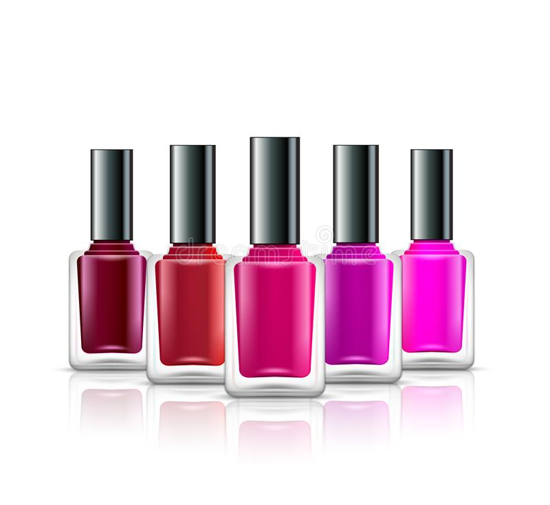Nail polish isolated glass bottle colors. Realistic beauty manicure paint containers. Cosmetic female nail polish product stock illustration