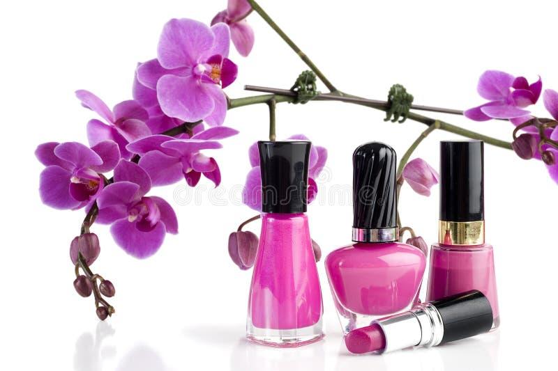 Nail Polish and Lipstick stock photos